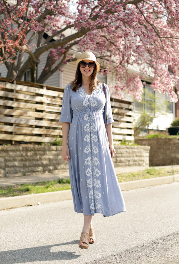 Non Maternity Dress Pregnancy Outfit Idea, @whatiwore