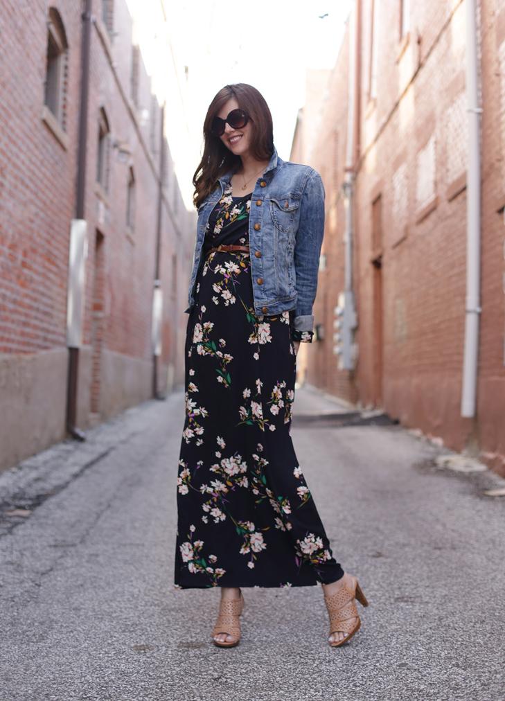 What I Wore, Jessica Quirk, Dark Floral, Maxi Dress, Denim Jacket, @whatiwore