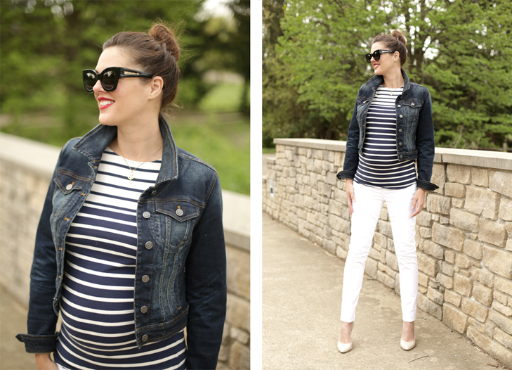 Stripes, Maternity Oufit, Pregnancy Style, 23 Weeks, White Maternity Jeans, @whatiwore