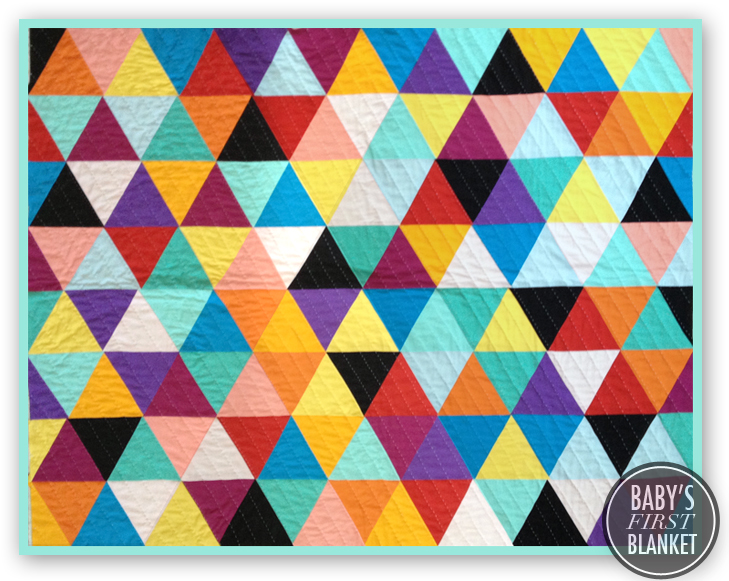 Geometric Quilt, Rainbow Quilt, Triangle Quilt, Baby Quilt, Bright Quilt, Modern Quilt, @whatiwore