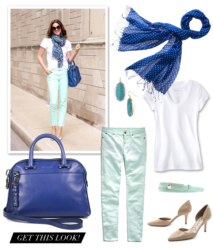 Mint and Cobalt Outfit Idea, @whatiwore