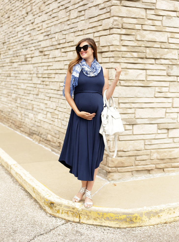 Maternity Outfit, What I Wore, Jessica Quirk, Pregnancy Style, Navy, Scarf, Summer Maternity, @whatiwore