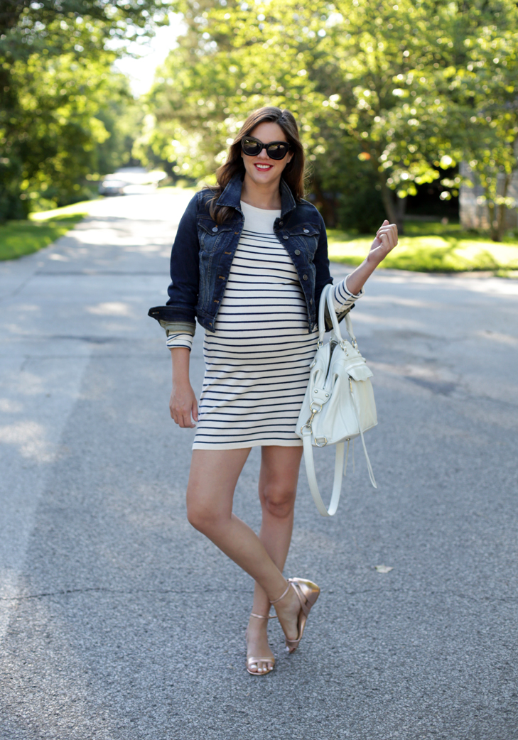 Maternity Style, Jessica Quirk, Stripes, #dressthebump, Pregnancy Fashion, @whatiwore