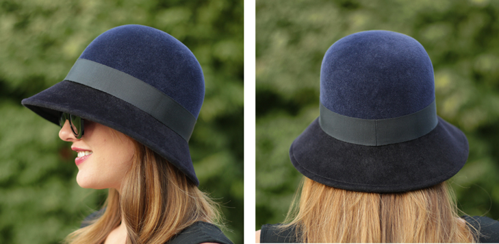 Two Toned Hat, Modified Cloche, Navy Hat, Millinery, Jessica Quirk, @whatiwore