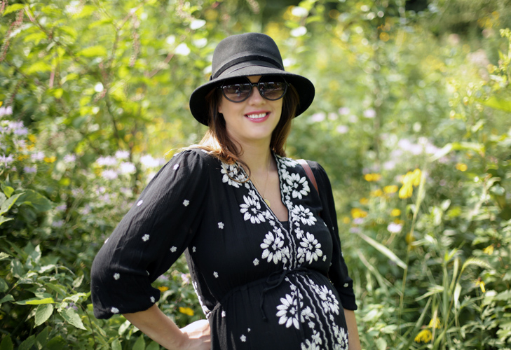 What I Wore, Jessica Quirk, Third Trimester Style, #dressthebump, 35 weeks, Black Dress, Free People Maternity Hack