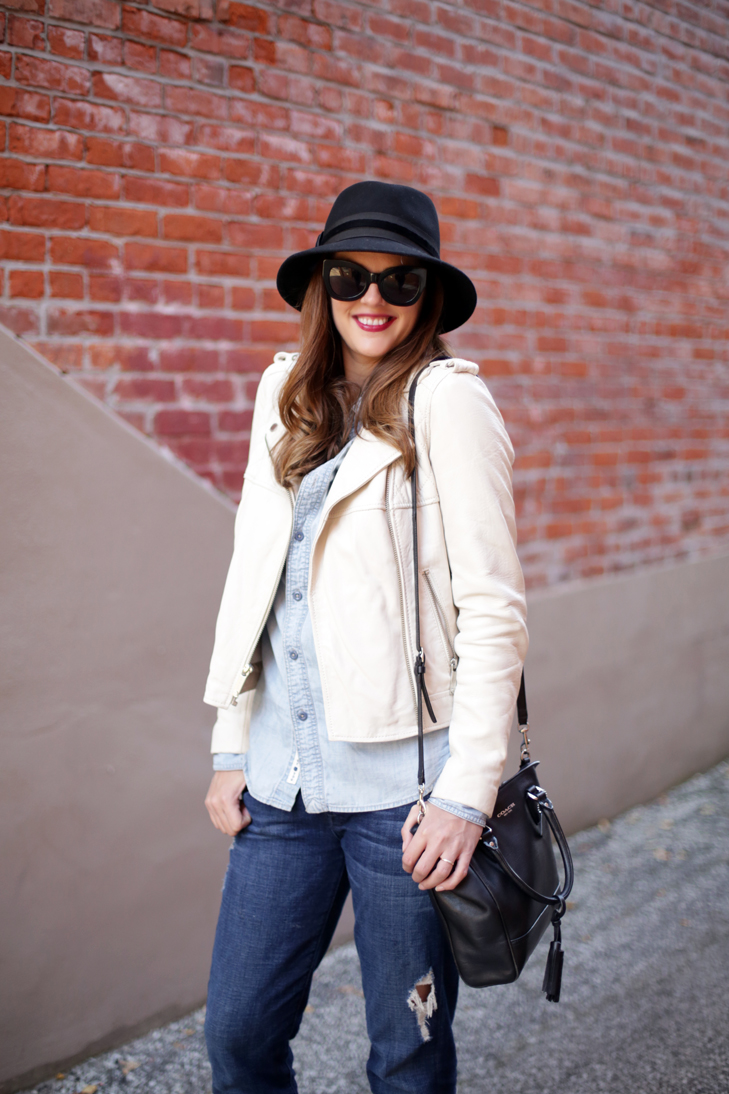 Denim on Denim, How to Wear a Hat, Fall Outfit, White Moto Jacket
