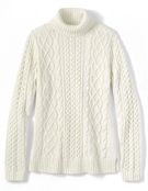 Lands End Cream Aran Turtleneck