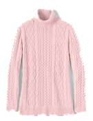 Lands End Pink Aran Turtleneck