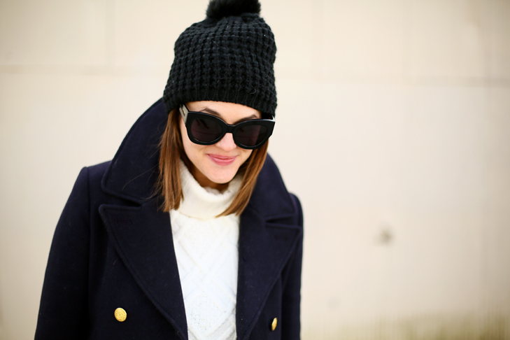 How to wear black and navy together, J.Crew Peacoat, Navy Winter Outfit,