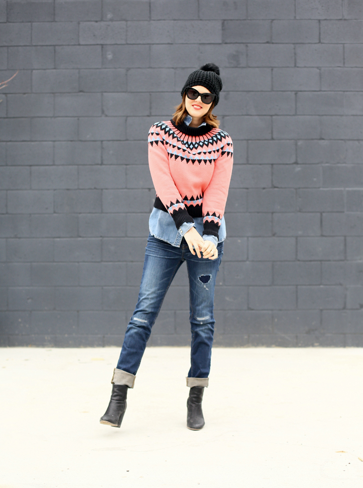 Fair Isle Sweater, Faded Neon, Winter Outfit, J.Crew, Tracy Reese Sweater