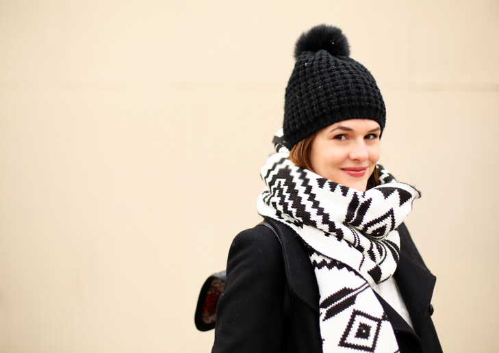 Black and White Winter Outfit, Statement Scarf, Winter Outfit Idea