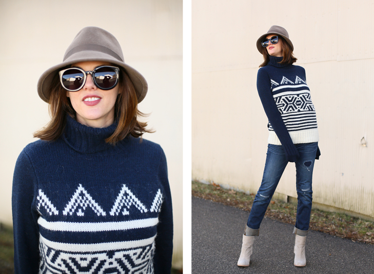 J.Crew Alpine Sweater, Felt Fedora, Reid Jeans, Booties