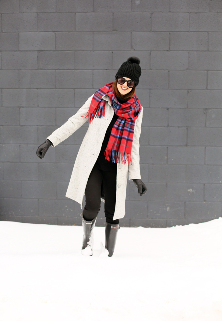 winter outfit, snow outfit, red scarf