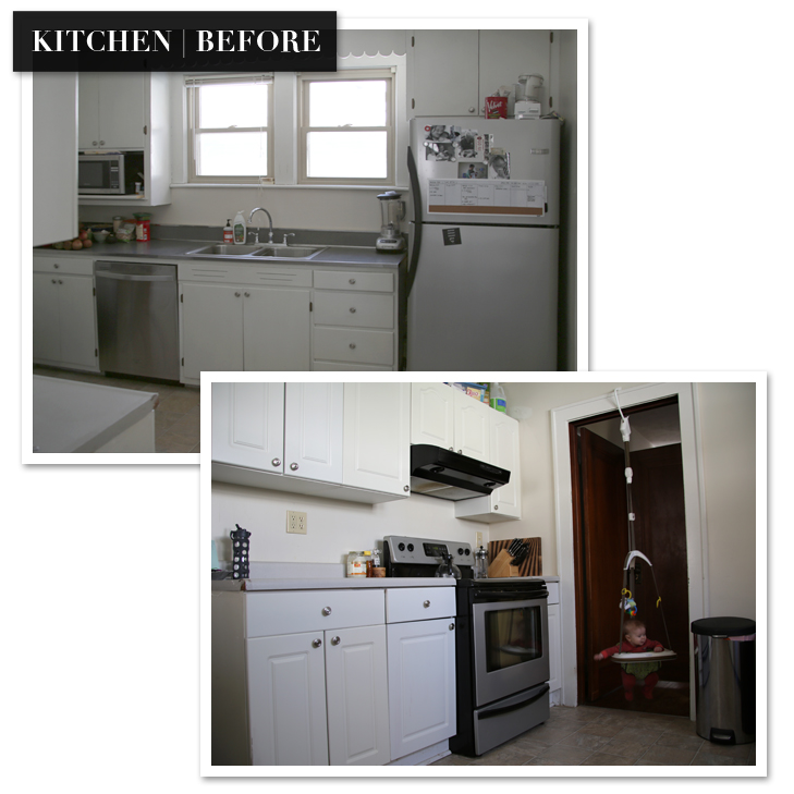 $500 Kitchen Renovation, DIY Retro Kitchen, Retro Kitchen Renovation, Dark Lower Cabinets, DIY Kitchen