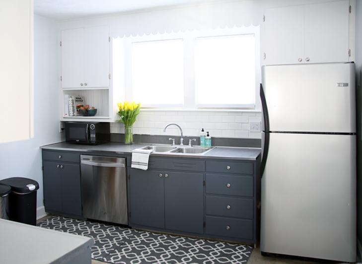 $500 Kitchen Renovation, DIY Retro Kitchen, Retro Kitchen Renovation, Dark Lower Cabinets, DIY Kitchen
