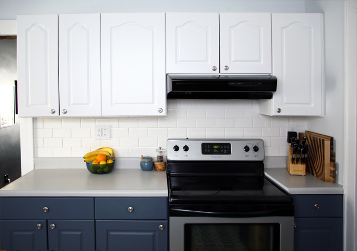 My home weekend kitchen renovation on what i wore for Standard white kitchen cabinets