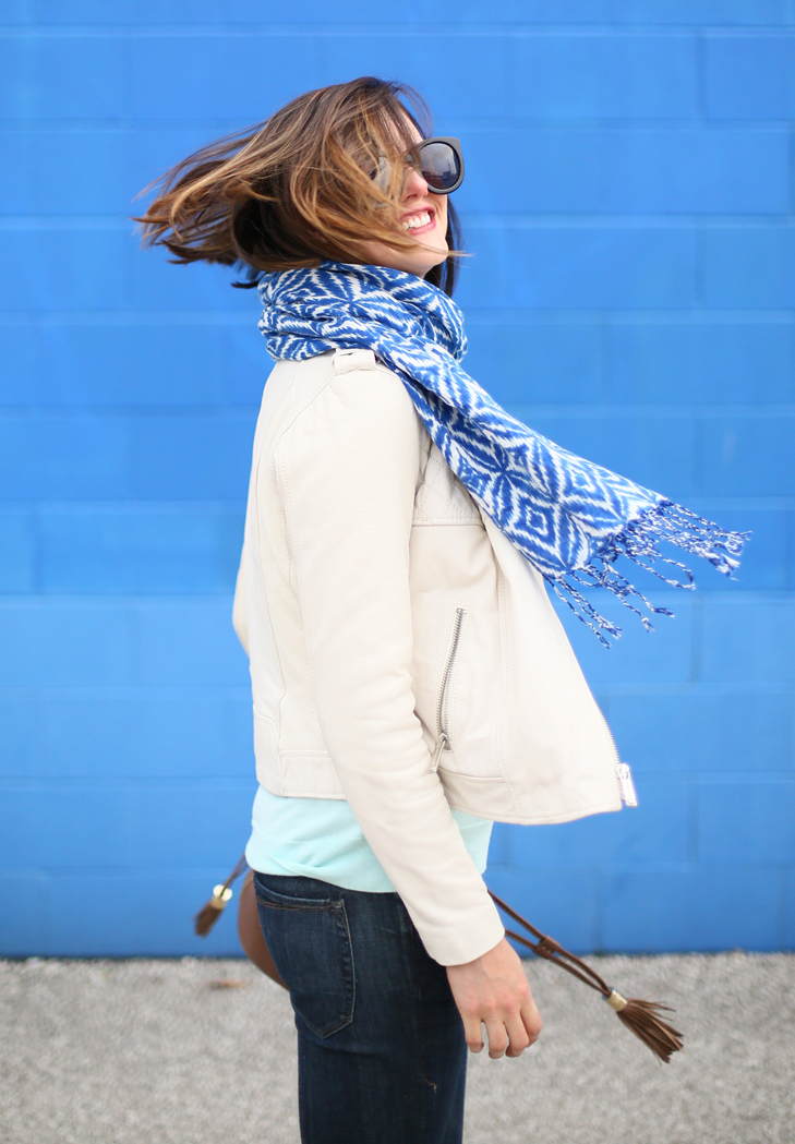 spring outfit idea, cold weather spring outfit, mint sweater, flare jeans
