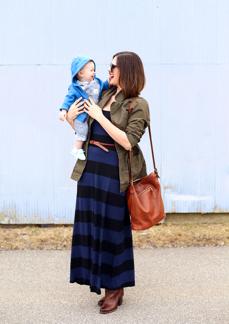 mother and son, spring maxi dress, striped maxi dress