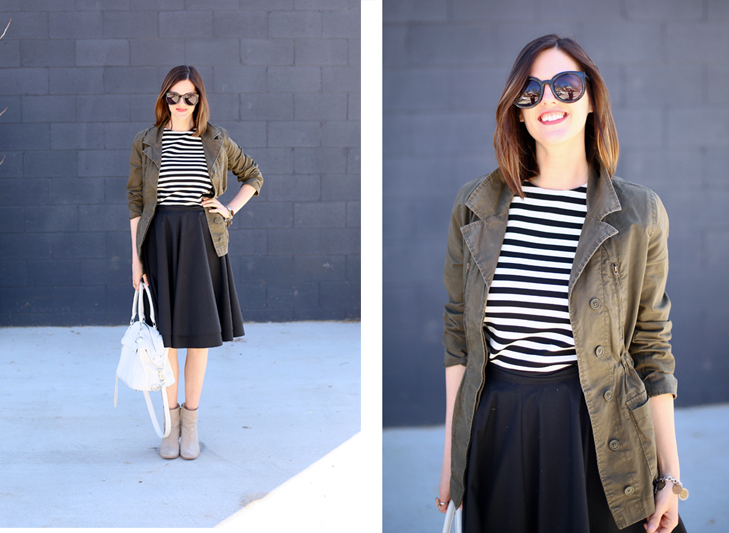 how to wear a full skirt, olive jacket