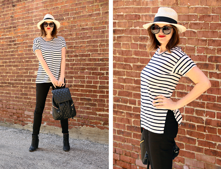 French Style, Striped Shirt, Fedora, Black Jeans
