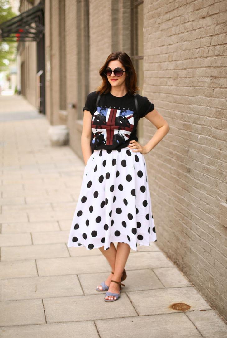 Concert Tee, Polka Dot Skirt