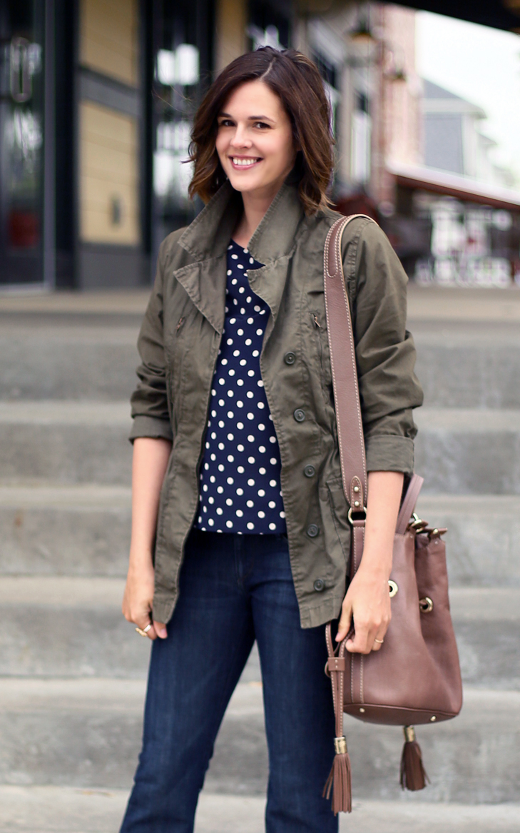 chilly spring outfit, olive jacket, polka dot top, flare jeans, short hair