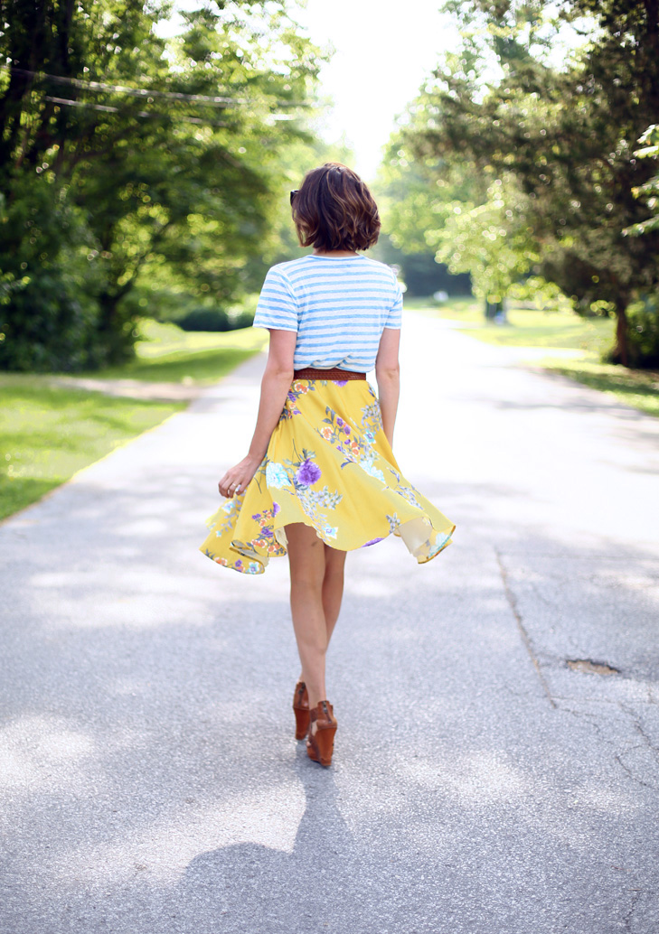 stripes and floral, yellow skirt, pattern mixing