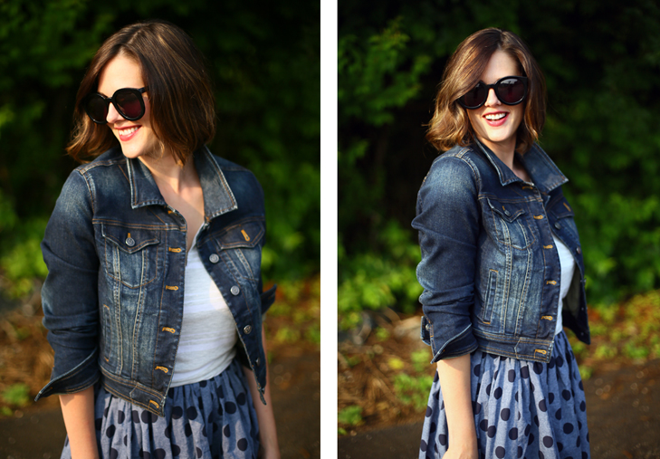 Jessica Quirk shows how to mix denim and chambray polka dots