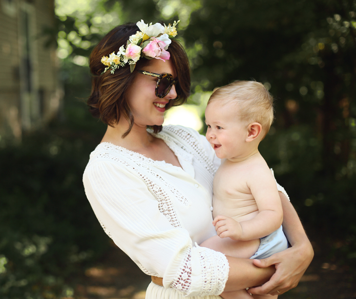 Flower Crown, Mother and Son Photo, White Summer Dress