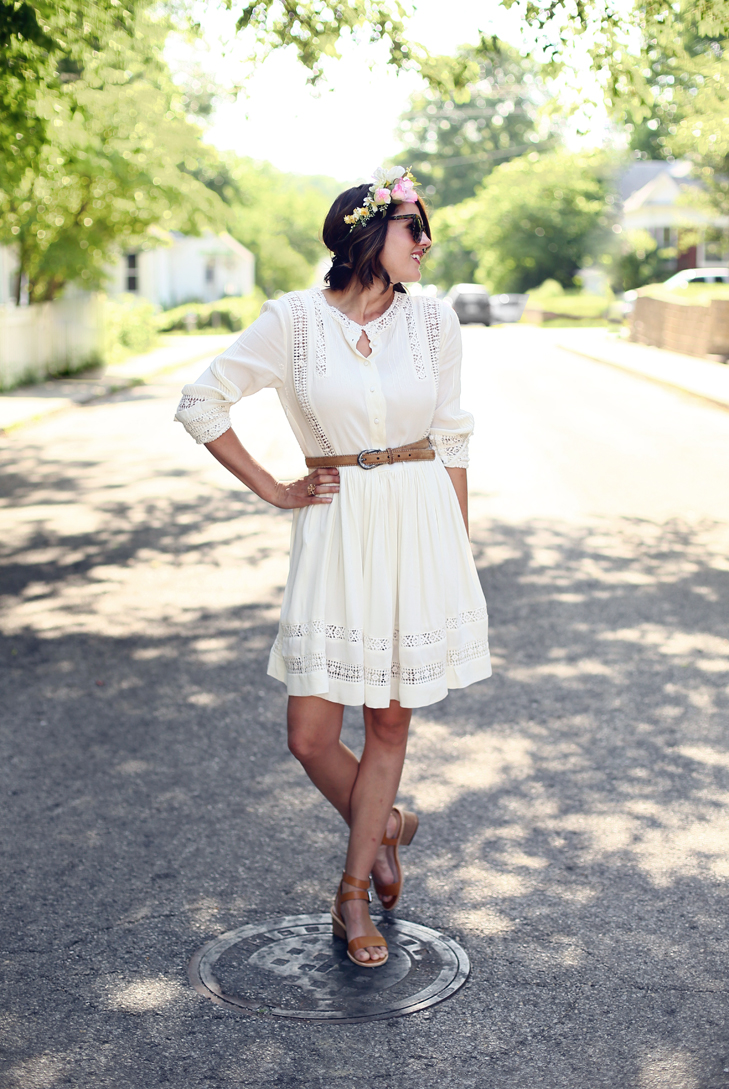 Flower Crown, White Summer Dress