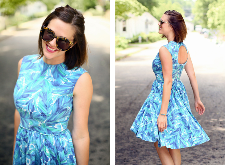 Jessica Quirk wears a vintage dress for a modern tea party on her blog, What I Wore.