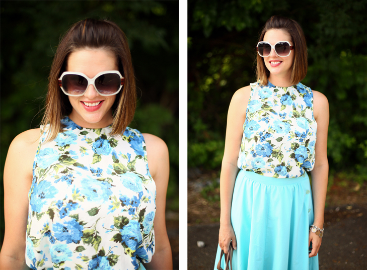 Jessica Quirk shows how to style a midi skirt with a floral blouse