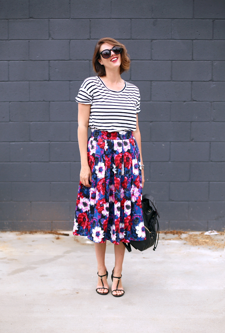 Jessica Quirk mixes stripes and floral prints on What I Wore