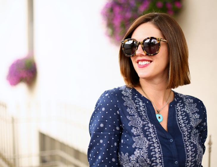 Jessica Quirk wears a bandana print shirt dress on her blog, What I Wore