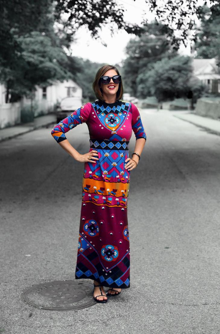 Vintage colorful maxi dress