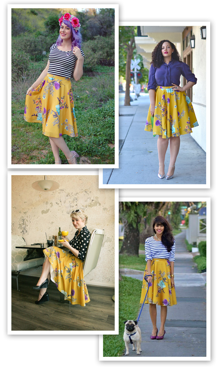 ways to wear a yellow skirt, modcloth yellow skirt