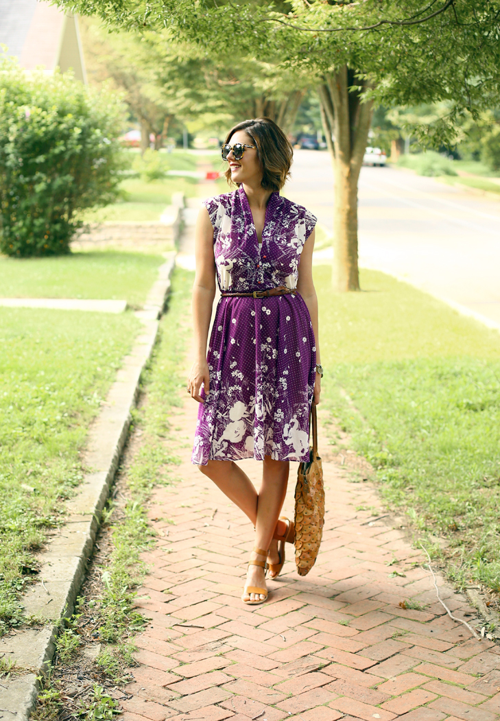 Jessica Quirk styles a vintage purple dress on her daily outfit blog, What I Wore