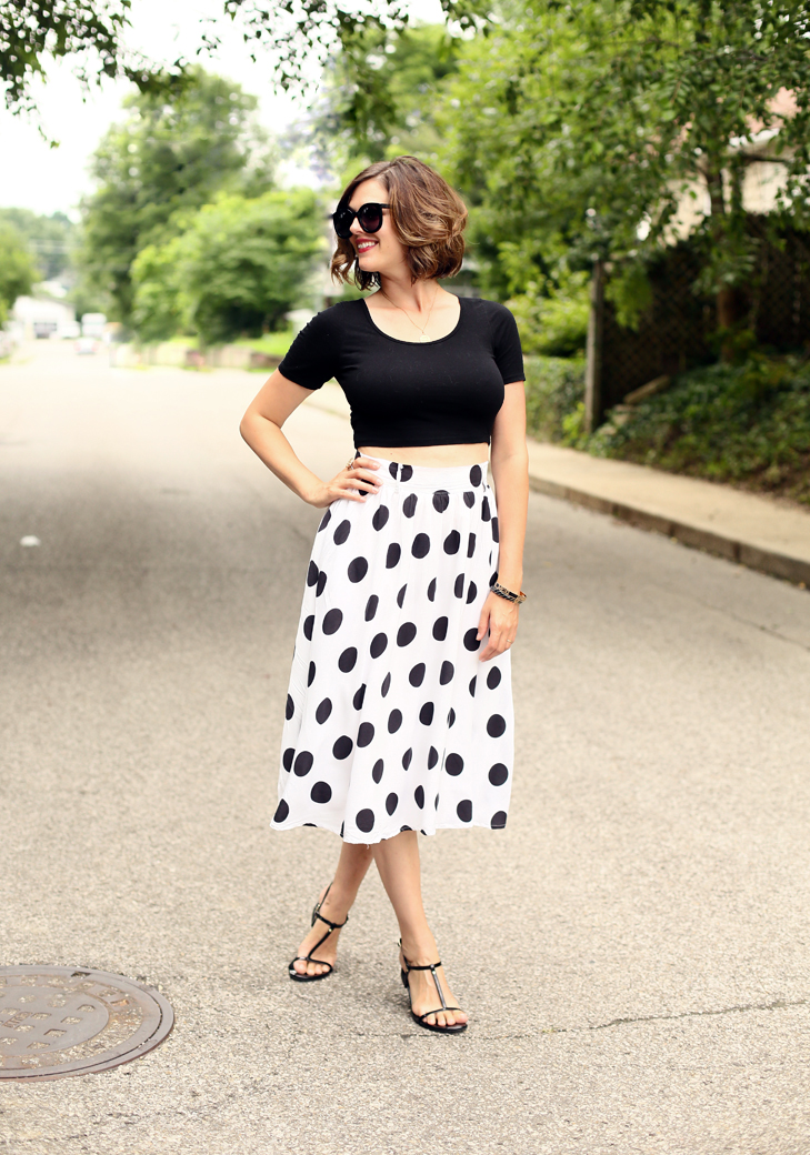 Modern Vintage, Bee Tattoo, Polka Dot, Crop Top