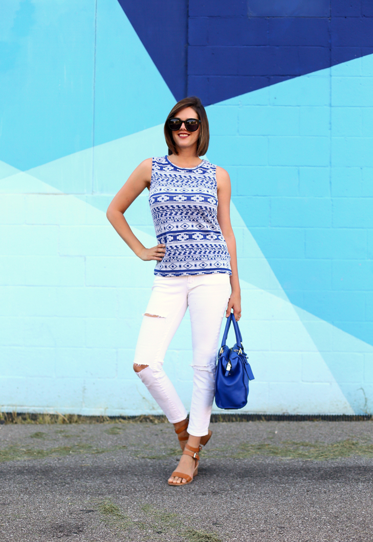 Blue Jacquard Top, Ripped White Jeans