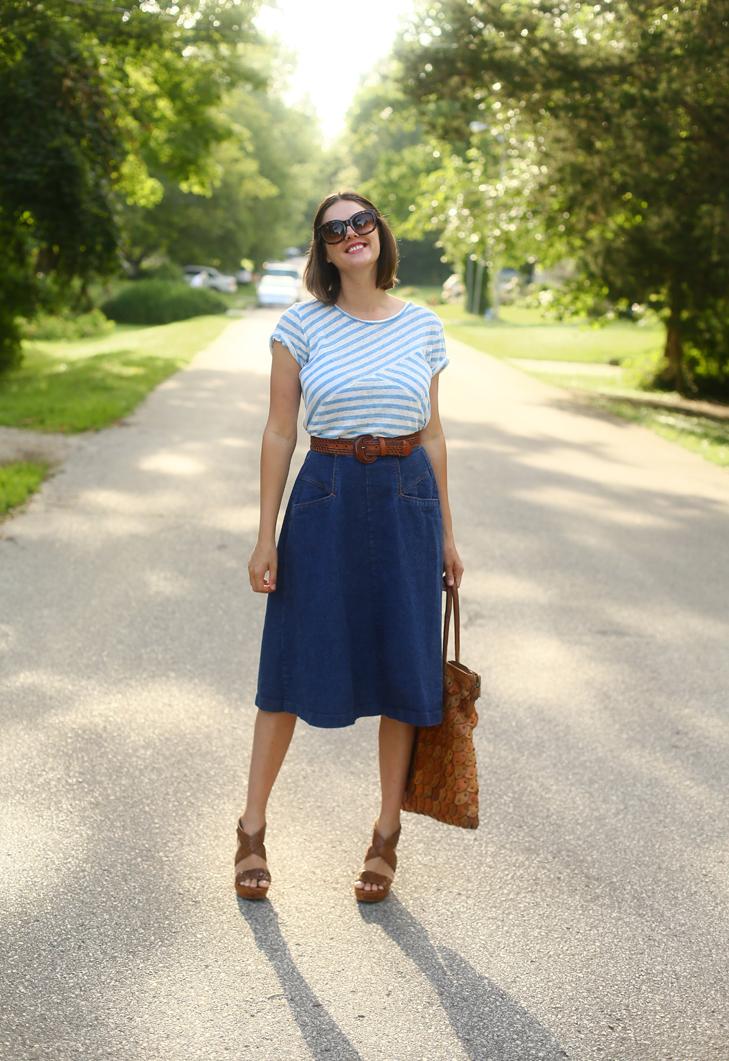 Seventies Summer Style, Modern Seventies, Denim Skirt