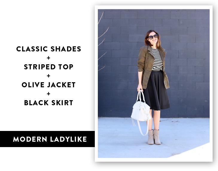 Cool way to wear a black full skirt, modern full skirt