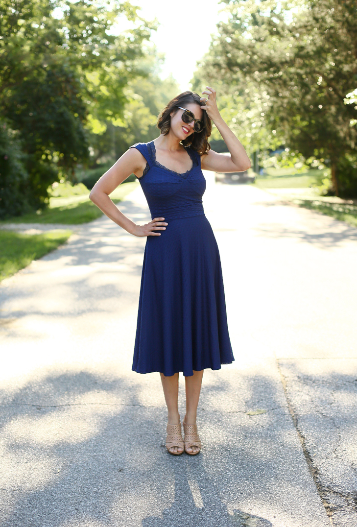 Blue Dress, Navy Dress, Flattering Dress, Fashion Blogger