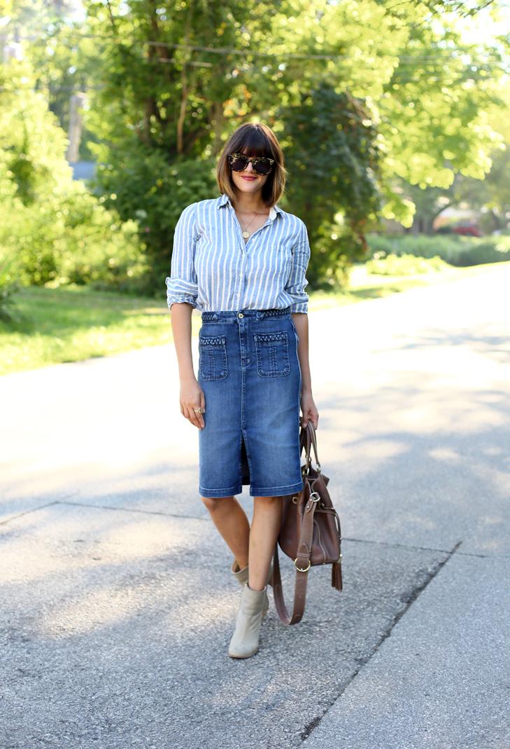 Denim Skirt, Denim Pencil Skirt, Jean Skirt, How to wear a Jean Skirt, Jessica Quirk