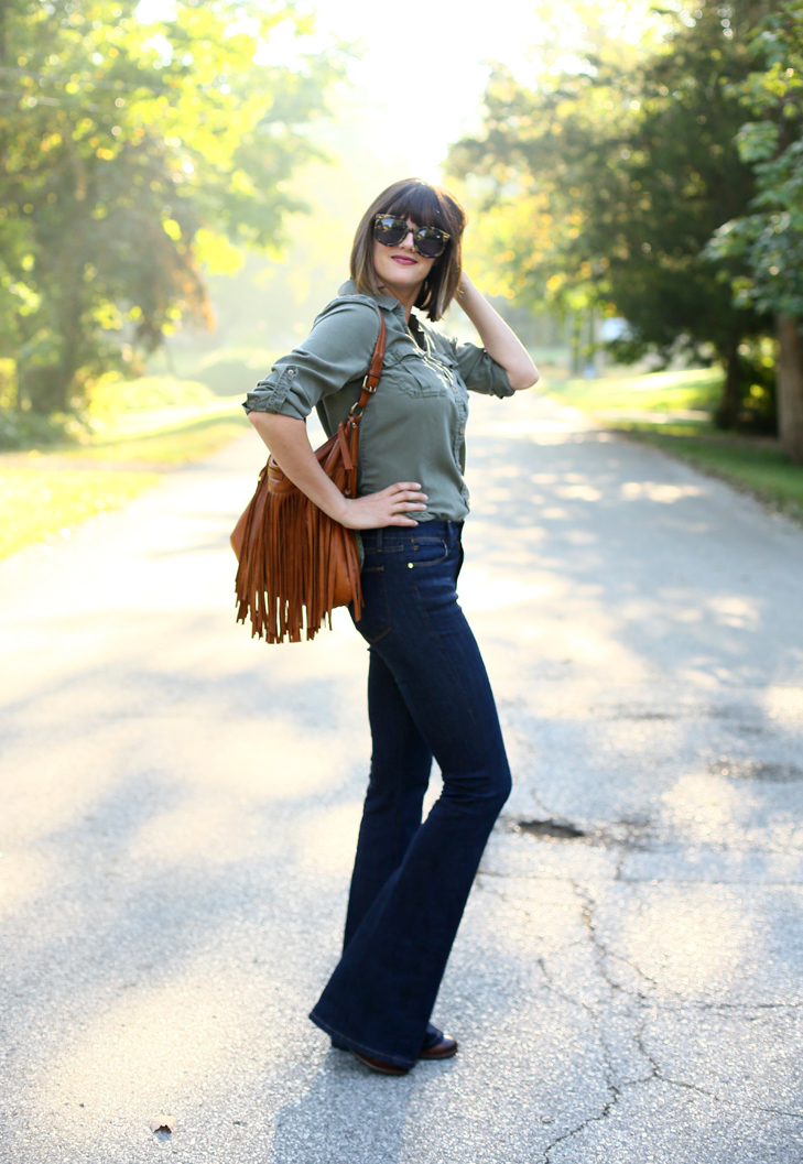 High Rise Flare Jeans, Fringe Leather Bag