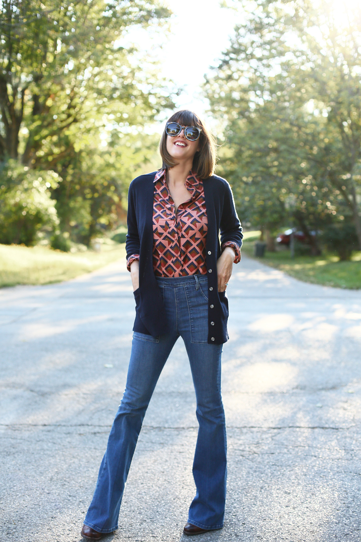 High Rise Flare Jeans, Mom Jeans, Cardigan, Vintage Blouse, OOTD, Jessica Quirk, What I Wore
