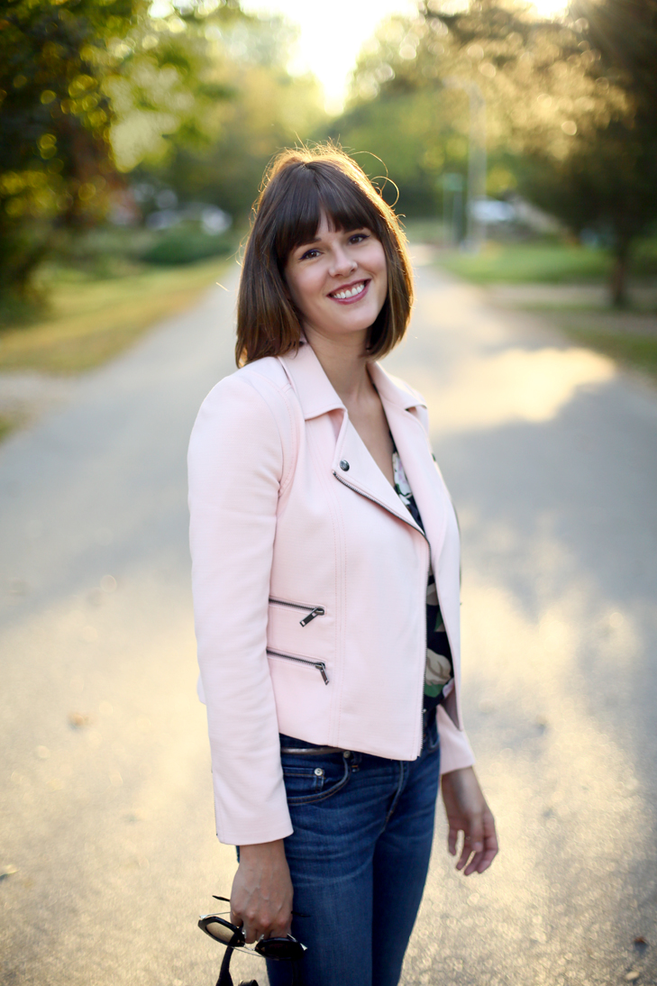 pink moto jacket, pale pink for fall, SAHM outfit, moto jacket