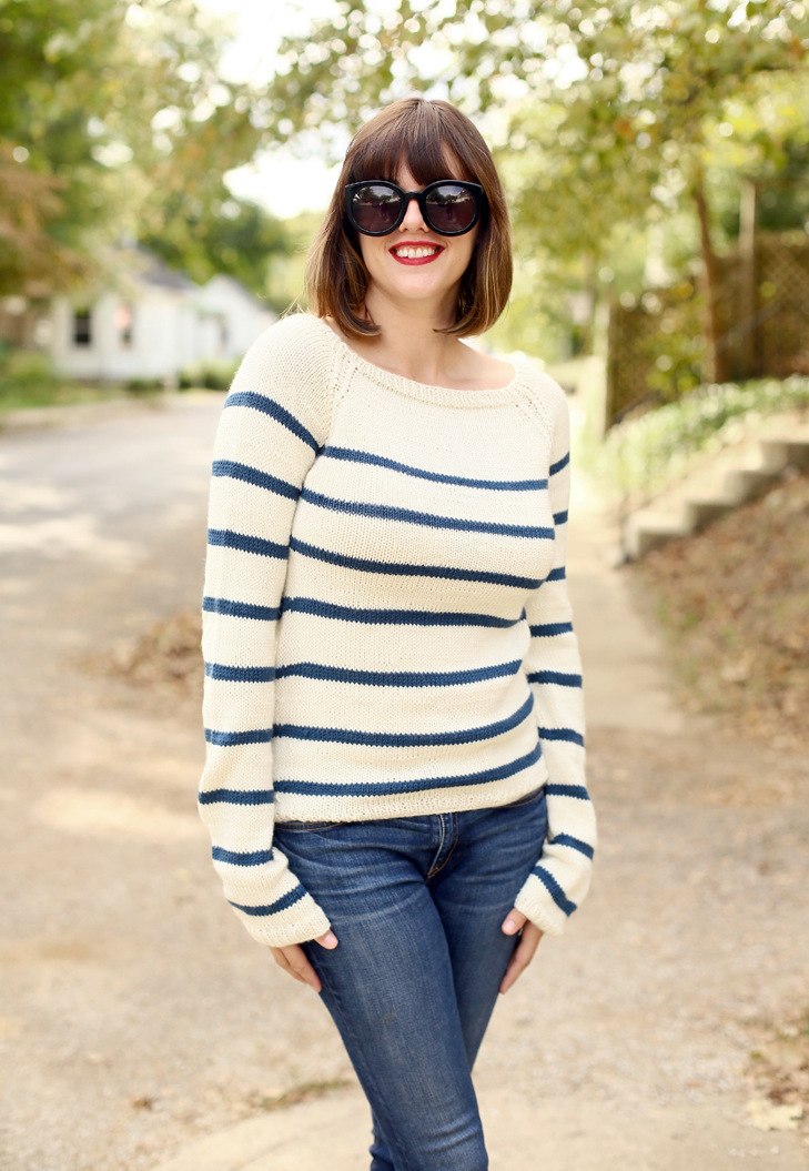 Knitting Pattern Striped Sweater : My DIY Hand Knit Striped Sweater on What I Wore