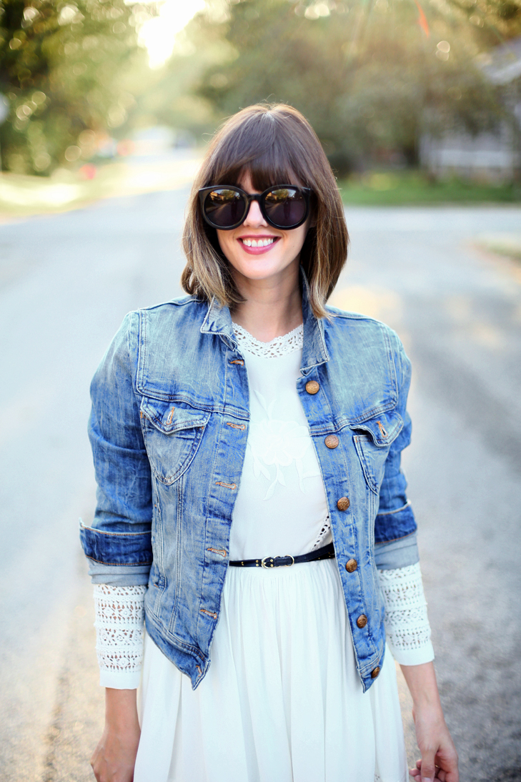 Denim Jacket, White dress for fall, Lace dress, white after labor day, Jessica Quirk