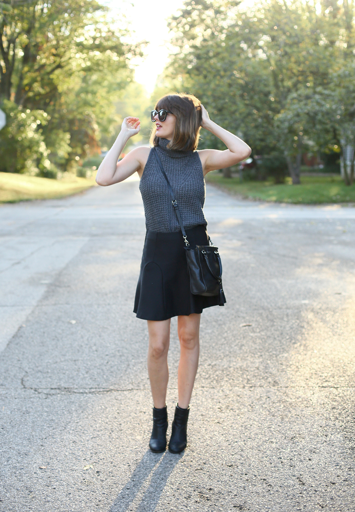 Sleeveless Turtleneck, Black Skirt, Booties