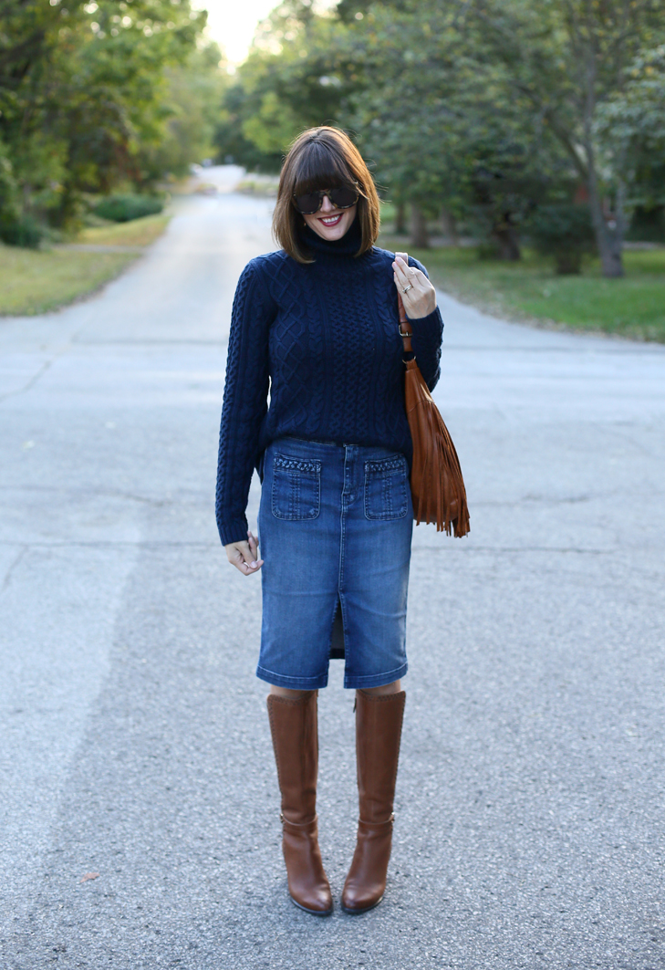 Lands End Turtlneck, 7 for All Mankind Skirt, Denim Skirt, Frye Bag, Ugg Boots